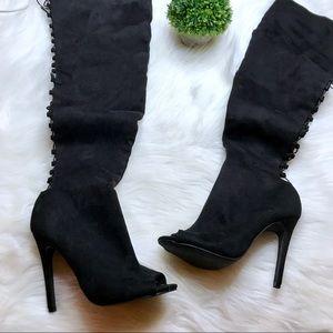 Wild Diva Lounge Thigh High Peep Toe Boots